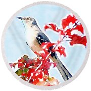 Mockingbird In The Leaves - Watercolor Round Beach Towel