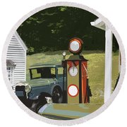 Model A Ford And Old Gas Station Illustration  Round Beach Towel