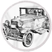 Model A Ford Roadster Antique Car Illustration Round Beach Towel
