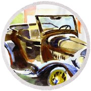 Model A In September Sunshine Round Beach Towel
