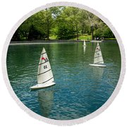 Model Boats On Conservatory Water Central Park Round Beach Towel