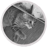 Model Kitten Round Beach Towel