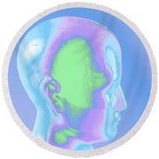 Model Of A Human Head In Profile Round Beach Towel