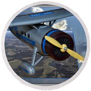Model Planes Top Wing 04 Round Beach Towel
