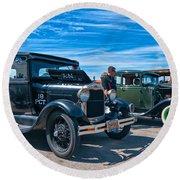 Model T Fords Round Beach Towel by Steve Harrington