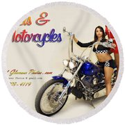 Models And Motorcycles Round Beach Towel