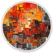 Modern Abstract Xxxiv Round Beach Towel