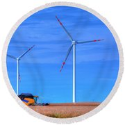 Modern Agriculture And Wind Turbines Round Beach Towel