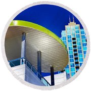 Modern Architecture With Blue Sky Round Beach Towel