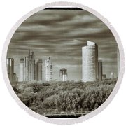 Modern Buenos Aires Black And White Round Beach Towel