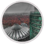 Modern Building With Autumn Forest Round Beach Towel
