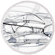Modern Drawing Seventy-six Round Beach Towel