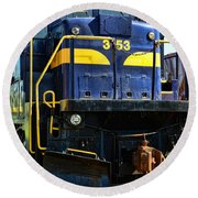 Modern Train Engine Round Beach Towel