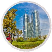 Modern Twin Tower In City Of Zagreb Round Beach Towel