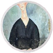 Modigliani's Cafe Singer Round Beach Towel