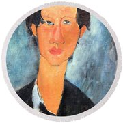 Modigliani's Chaim Soutine Up Close Round Beach Towel