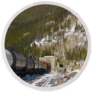Moffat Tunnel East Portal At The Continental Divide In Colorado Round Beach Towel