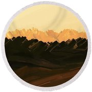 Mohave Desert Mountains Round Beach Towel