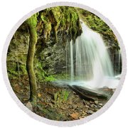 Mohawk Falls At Ricketts Glen Round Beach Towel
