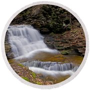 Mohican Falls In Spring Round Beach Towel