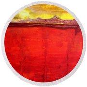 Mojave Dawn Original Painting Round Beach Towel