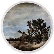 Mojave Desert Joshua Tree In Cima Round Beach Towel