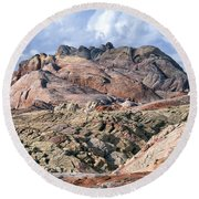 Mojave Desert View - Valley Of Fire Round Beach Towel