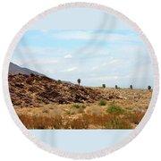 Mojave Desert Landscape Round Beach Towel