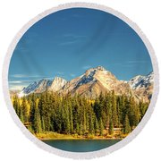 Molas Lake And The Needles Pan 1 Round Beach Towel