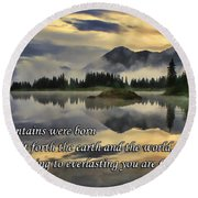 Molas Lake Sunrise With Scripture Round Beach Towel