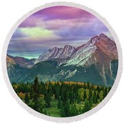 Molas Pass Sunset Panorama Round Beach Towel