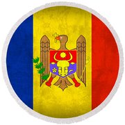 Moldova Flag Vintage Distressed Finish Round Beach Towel