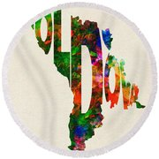 Moldova Typographic Watercolor Map Round Beach Towel