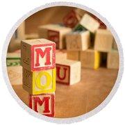 Mom Alphabet Blocks Round Beach Towel