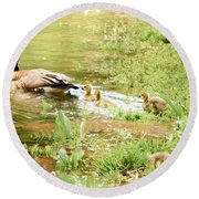 Mom And Babies Swimming Round Beach Towel