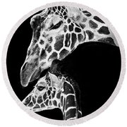 Mom And Baby Giraffe  Round Beach Towel by Adam Romanowicz