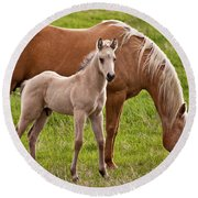 Mom And Foal Round Beach Towel