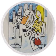 Mom And Son In Montreal Round Beach Towel