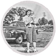 Mom Child And Car Round Beach Towel