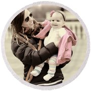 Mom Loves Baby Pink Round Beach Towel