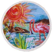 Momma And Baby Flamingo Chillin In A Blue Lagoon  Round Beach Towel