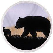 Momma Bear And Cub Round Beach Towel