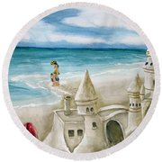 Mommy And Me Sandcastles Round Beach Towel
