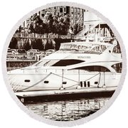 Momousse Yacht In Montreal Round Beach Towel