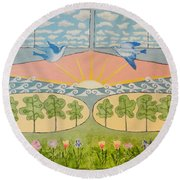 Do You See Love? By Marian Krause Round Beach Towel