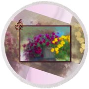 Moms Garden Art Round Beach Towel