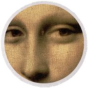 Mona Lisa    Detail Round Beach Towel