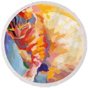 Mona Lisa's Rainbow Round Beach Towel