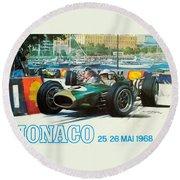 Monaco F1 Grand Prix 1968 Round Beach Towel