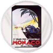 Monaco Grand Prix 1933 Round Beach Towel